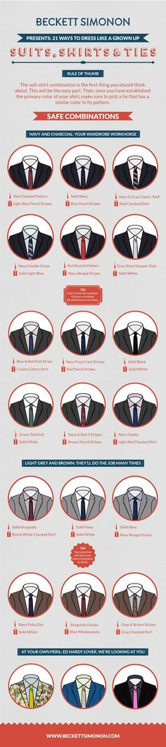 The Ultimate Suit Wearing Cheat Sheet Every Man Needs http://officialtechnique.blogspot.com/2014/09/the-perfect-interview-17-golden-rules.html