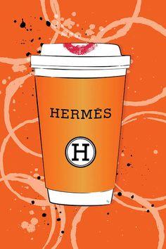 Hermes Coffee Art Print by Martina Pavlova Canvas Art Prints, Wall Prints, Chanel Wall Art, Fashion Wall Art, Paper Fashion, Coffee Art, Christmas Art, Design Crafts, Paris