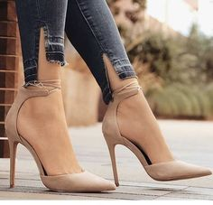 Ankle Strap Crisscross Stiletto Pumps Ankle straps on the Storenvy cross-stitched high heels - Ankle Strap Heels, Ankle Straps, Stiletto Pumps, Pumps Heels, Nude Heels, Pointed Heels Outfit, Pointed Toe Heels, Heeled Sandals, Strappy Heels