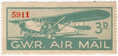 1933 G. A fine mint example printed by Waterlow & Sons for the Great Western Railway Air Mail service Vintage Stamps, Stamp Collecting, Ephemera, Aviation, History, Airmail, Commonwealth, Fun, Poster