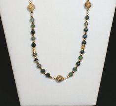 Green Agate Jasper Stone Beaded Long Necklace by 2012BellaVida, $35.00