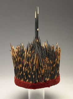 Cameroon. Man's Hat  Wool, Porcupine Quills; Single-element Construction (looping Variant?) Dimensions: 37 x 19 cm