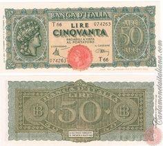 Cartamoneta Italiana .com - Museo Virtuale - : Banca d'Italia – Regno d'Italia - Foto: 50 LIRE - 1944 - Italia turrita - N 11