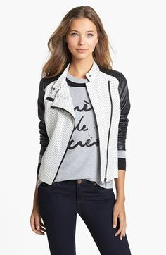 kensie Pin Dot Jacquard & Faux Leather Jacket available at #Nordstrom