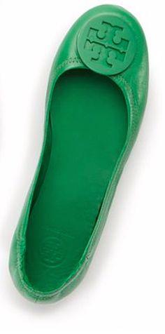 Green Tory Burch travel ballet flat