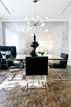 Donghia silver paper and a Sputnik style chandelier create an elegant feel with a bit of subtle drama in this dining room. Decor, Furniture, Room, Interior, Dining, Dining Table, Home Decor, Chandelier, Dining Room