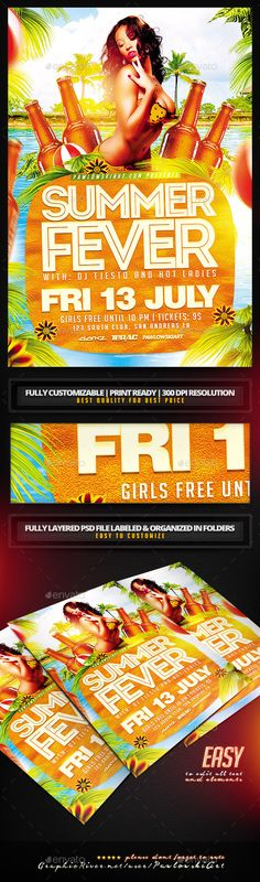 Summer Fever Party Flyer Template - Clubs & Parties Events