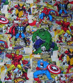 Marvel Comic Book Covers Fabric  / by trinketsintheattic on Etsy, $14.00