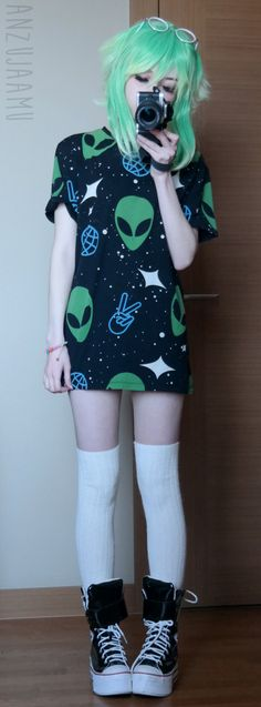 "Aaaaaliens! Vocaloid Gumi inspired. Outfit Rundown Glasses: spreepicky (The code ""anzujaamu"" will give you a discount~!) Wig: Taobao T-Shirt: Sheinside Socks: Local Shop Shoes: Maxstar Store You can..."