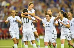 Celebration following O'Hara's goal from an assist by Lloyd. USWNT is headed to the finals! #shebelieves