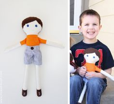 connor with fabric doll