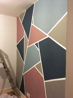 Room Wall Painting, Room Paint, Bedroom Wall Designs, Room Decor Bedroom, Geometric Wall Paint, Wall Paint Patterns, Room Inspiration, Wall Murals, Diy Home Decor