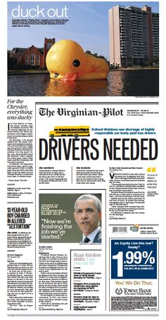 The Virginian-Pilot's front page for Wednesday, May 28, 2014.