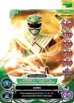 Green Mighty Morphin Power Ranger trading card