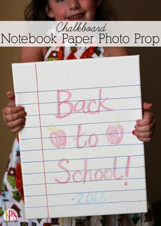 Notebook Paper Chalkboard Sign (Back-to-School Photo Prop Idea)