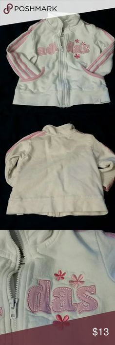 Adidas zip sweatshirt Awesome Adidas sweatshirt for cute little girl eho.likes pink.  I couldn't find any flaws or stains.  Probably not worn much. Adidas Jackets & Coats