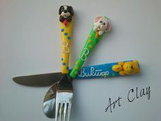 Unique Child's Gift Idea Polymer Clay Set, Animal Set, Kids Spoon, Fork and Knife, Customized Cutlery Set, Dog, Bear and Rabbit, Handmade by DarijArtClay on Etsy