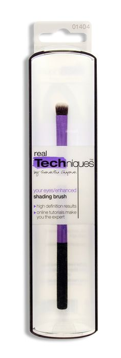 real Techniques Shading Brush (Pack of 2). Hand cut hair design allows for even and streak free application of makeup. Synthetic taklon bristles are non-porous and do not trap or absorb product, bacteria and dead skin cells. Bristles are less prone to breakage or damage as well as keep clean and maintain. Uniquely shaped and color coded aluminum ferrule. Online video tutorials at http://www.youtube.com/user/realtechniques.