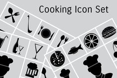 Cooking icon set by megainarmy on Creative Market