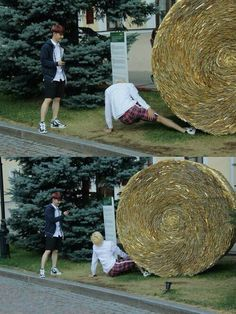 Kyungsoo taking pictures of Exo Kai pretending to be stuck under a hay bale 2ne1, Taemin, Shinee, Blind, Got7, When Your Best Friend, Exo Couple, K Pop Boy Band, Culture Pop