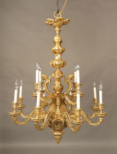 An Excellent Quality Late 19th Century Gilt Bronze Twelve Light Chandelier
