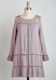 Groovy Tuesday Dress - Purple, Solid, Crochet, Cutout, Lace, Casual, Boho, Festival, Shift, Long Sleeve, Woven, Better, Short
