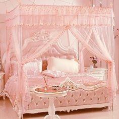 Sweet Dreams! This bedroom is so pink and sweet I think my teeth would ache when I woke up in the morning! #marieantoinettestyle #mozartandmarie #pink #bedroom #sweet #sugar #pinkbedroom #interior #sweetdreams