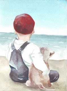 Original watercolor painting art boy on beach with dog by HelgaMcL http://etsy.me/UAtfY8 $20.00
