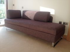 Brown fabric, chrome ski legs, Doppio sofa bed (205 cm x 85 cm as a day bed / 205 cm x 165 cm as a double all the time use bed).