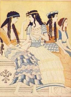 Minoan Fresco of Women Inspiration for the Mycenaean Greeks for centuries. Style of hair is similar to Egypt whom the Minoans copied many art trends.for short, everyone in minoan art is absolutely, undeniably fabulous. Ancient Greek Art, Ancient Rome, Ancient Greece, Greek History, Ancient History, Art History, Knossos Palace, Minoan Art, Bronze Age Civilization