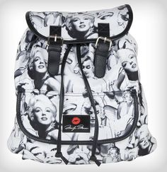 Marilyn Monroe Signature Photo Collage Slouch Backpack cinch buckle Bookbag #MarilynMonroe #Backpack #NormaJeanBaker