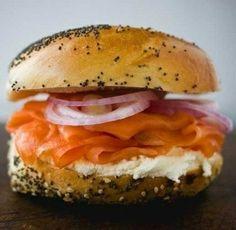 #BucketList ~ New York Bagel with lox, cream cheese, and onions.