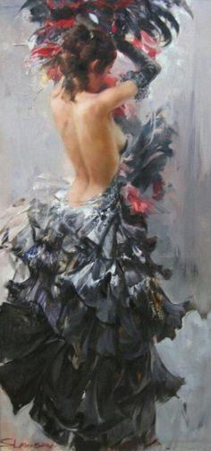 Иван Славинский ( is a contemporary artist born in 1968 in Leningrad, Russia, Surrealist and impressionist painter)-Spanish flamenco dancer Art Magique, Dance Paintings, Foto Art, Art Graphique, Dance Art, Erotic Art, Beautiful Paintings, Female Art, Painting & Drawing