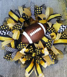 Items similar to Ready to Ship Black Yellow Gold White Chevron Polka Dot Gameday Football Front Door Deco Mesh Wreath available with or without Football on Etsy Sports Wreaths, Football Wreath, Deco Mesh Wreaths, Black N Yellow, Chevron, Polka Dots, Ship, Halloween, Unique Jewelry