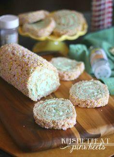 Krispie Treat Pinwheels.  A simple twist on krispie treats.  So easy and so adaptable!!