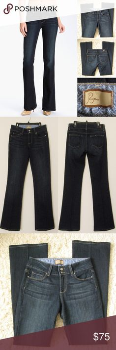 "Paige H. H. Hidden Hills Bootcut Jeans PAIGE H.H. Hidden Hills Bootcut Denim Jeans. Size 28. Excellent condition. Worn once. No visible flaws! Materials: 80% Cotton/-9% Polyester/1% Spandex Features: Contoured waist/slightly higher rise/zip fly 2 button closure/ 5-pocket style Actual Measurements (laying flat): • Waist - 30"" around • Hips -17""  • Rise - 9"" front/ 12"" back • Inseam - 33""  • Length - 42""  • Cuff - 9""  ~❌SWAP❌TRADE ~ ✔️❤️Bundles📦💕 ~✔️Smoke-free/pet-free home Paige Jeans Jeans…"
