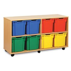8 Jumbo Tray Unit   Primary Colours - This tray unit is delivered to you fully assembled with jumbo trays and are castor mounted to move easily. If you have specific tray colour requirements, let us know. You can have any combination of colours.