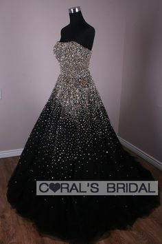 luxurious glitter, black and white ball gown