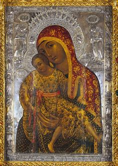 Icon of Eleousa, that sits to the right of the sanctuary of the original Eleousa that was painted by St. Luke, at the Virgin of Kykkos Monastery, Cyprus