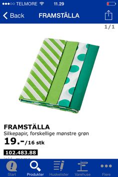 IKEA FRAMSTÄLLA Tissue paper Assorted patterns green Our storage shelves are getting full. That's why we're selling this product at a lower price. Gift Bag Storage, Ikea Storage, Storage Shelves, Ikea Christmas Decorations, Paper Decorations, Tissue Paper Storage, Ikea I, Workshop Storage, Decorative Storage