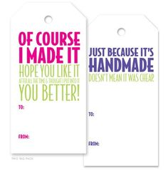 Gift tags for handmade crochet items: Inspiration to make your own or purchase… Craft Gifts, Diy Gifts, Food Gifts, Printable Tags, Printables, Knitting Humor, Knitting Projects, Knitting Patterns, Sewing Patterns