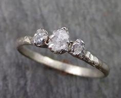 Dainty Raw Rough Diamond Engagement Stacking ring Wedding anniversary White Gold 14k Rustic