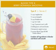 Our bodies' require the proper nutrients to function efficiently. Following your blood type specific diet provides maximum nutritional support to fight fatigue and support healthy energy levels. Here's an energy-boosting protein drink recipe adapted for Blood Type B