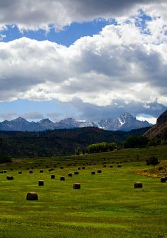 Hay bales at the base of the San Juan Mountains by ImageFever, $19.95