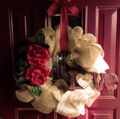 Valentine's Day Faux Burlap Wreath Created by Becky Davino of Little Red Wagon Creations. https://www.facebook.com/MemoryNeverEndingShop