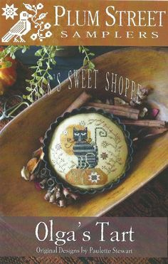 "PLUM STREET SAMPLERS: ""Olga's Tart"" - Jack's Sweet Shoppe - Primitive Halloween Cross Stitch Cat Pattern, Chart, Leaflet by Paulette Stewart"