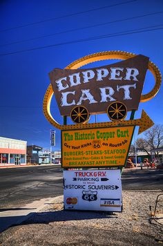 'Copper Cart' Cafe Neon Sign: Route 66, Seligman, Arizona / photo by Stewart Leiwakabessy