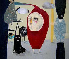 Daniela Tieni Little Red Riding Hood- formas abstractas que devienen figuras en el espacio
