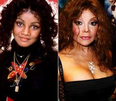 Latoya Jackson plastic surgery before and after.  Another 3 surgeries and she might look just like her dead brother.