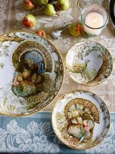 Williams-Sonoma turkey heirloom plates with a woodland scene of a wild turkey.